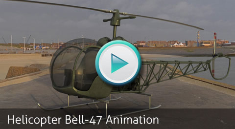 Animation Test. Helicopter Bell-47 by Bondiana 3D Models.