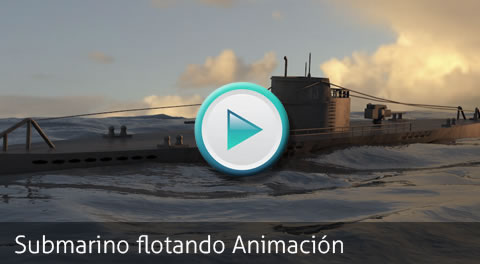 Animation Test. Floating submarine 3D by Bondiana 3D Models.